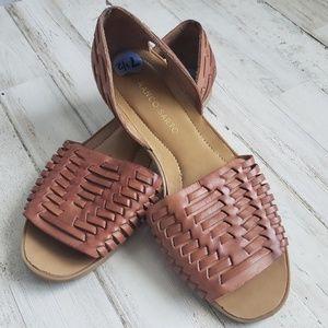 Franco Sarto Viola Leather Slip On Woven Sandals